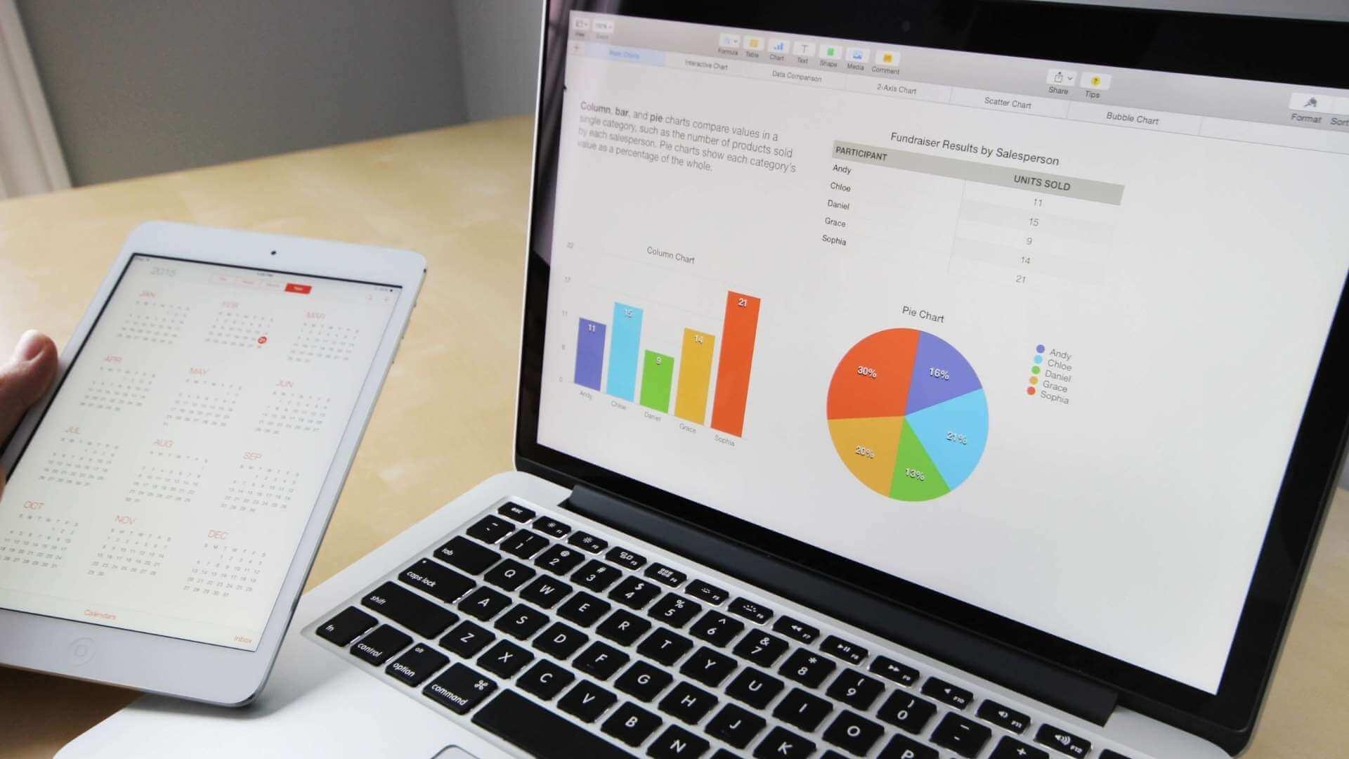 laptop screen showing team performance analytics