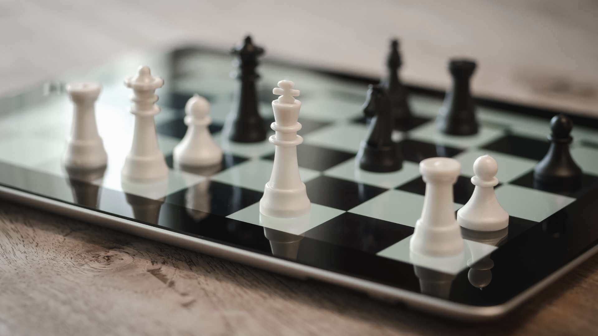 chess game move on a smart tablet as board