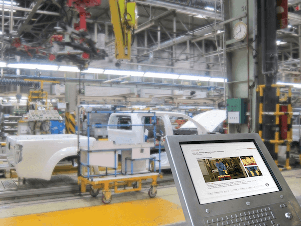 etraining in a car maker manufacturing floor