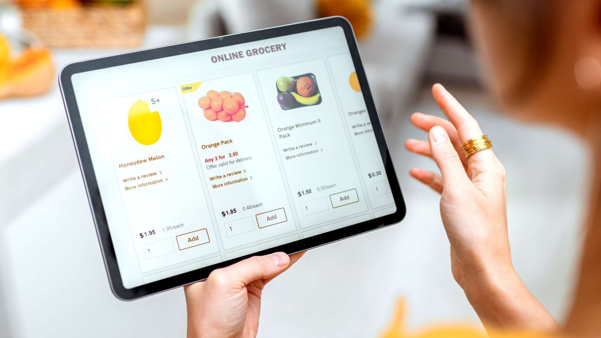 online groceries shopping from a tablet